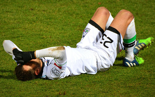 Sports injury with hamstring strain